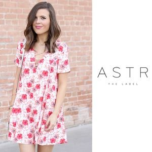 ASTR the Label A-line Floral Pink Peony Dress